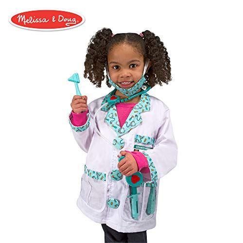(Melissa & Doug Doctor Role-Play Costume Set (Pretend Play, Materials, Machine Washable, 17.5″ H × 24″ W × 0.75″)
