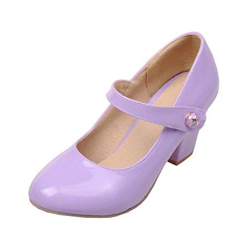 YE Damen Ankle Strap Lack Pumps Blockabsatz High Heels mit Riemchen Elegant Schuhe Lila