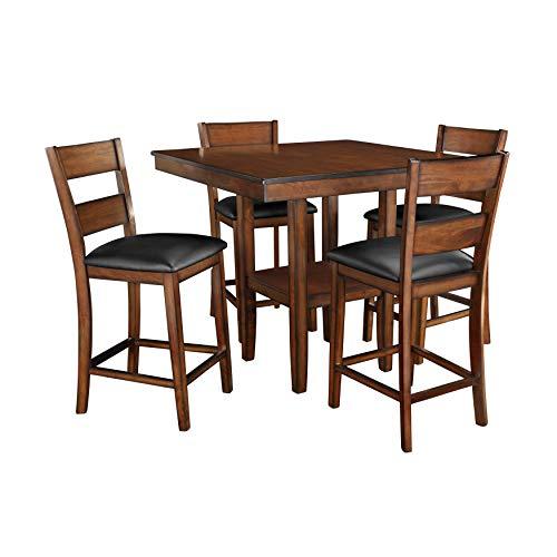 FurnitureMaxx Pennington Dark Cherry Merlot Counter Height 5-Piece Dining Set, Table and 4 Chairs (Dining Room Set Merlot)
