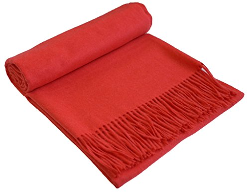 GOBI Mongolian Cashmere Home Throw Fringed 79 x 57 inSolid Coral