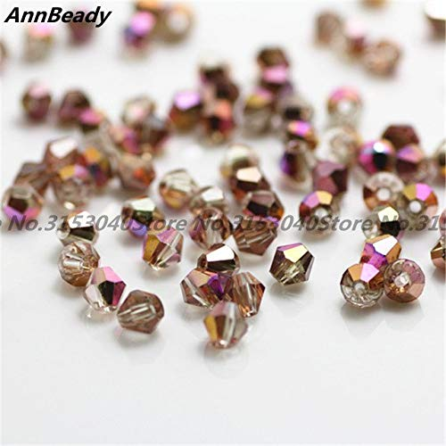 Calvas 100pcs Multicolor 4mm Bicone Crystal Beads Glass Beads Loose Spacer Beads DIY Jewelry Making Austria Crystal Beads - (Color: Copper AB)
