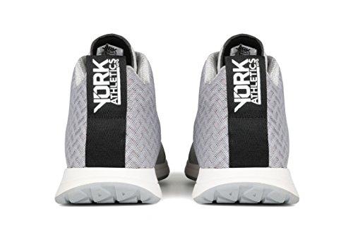 York Athletics La Sneaker Henry Mid Training Leggero, Scarpa Da Allenamento Unisex Per Uomo E Donna, Mesh Resistente, Materia Grigia Microfibra (mesh Mesh)