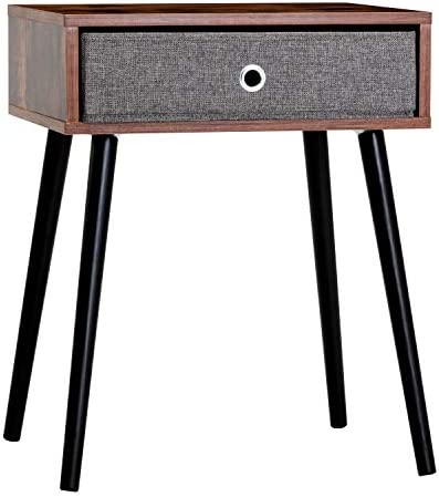 XPELKYS Retro Nightstand, Mid-Century Single Drawer Side Table,Modern End Table and Accent Table,Cabinet for Storage,Bedside Table for Living Room and Small Spaces,Solid Wood Legs, Brown