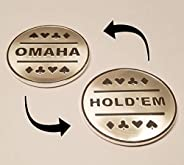 1x Omaha & Texas Hold'em Silver Plated Metal Dealer Button Great for Round by Round Pok