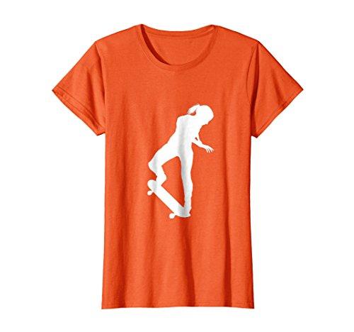 Womens Girl Skateboard Graphic T-Shirt Small Orange