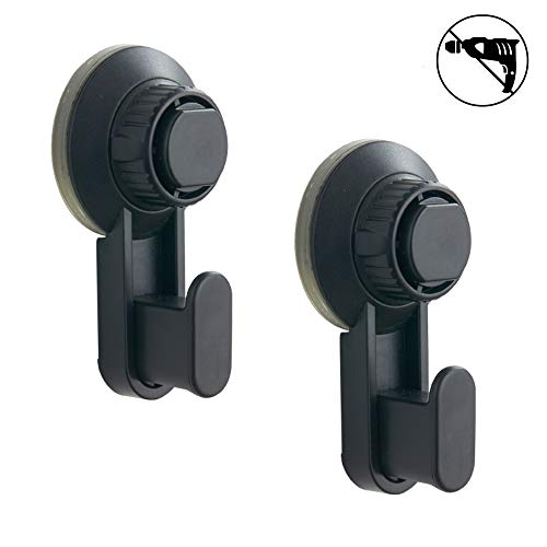 Walls Home & Decoration Powerful Vacuum Suction Cup Hooks - Organizer for Towel, Robe, Loofah - Black Matt Waterproof Suction Hooks Holder for Shower Bathroom Kitchen Restroom (2 Pack) by Walls Home & Decoration