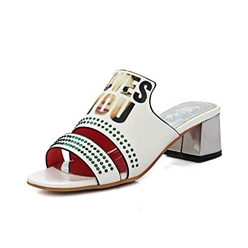 Femme Ouvert Bout Blanc AdeeSu SLC04397 fPxUqw7AF1