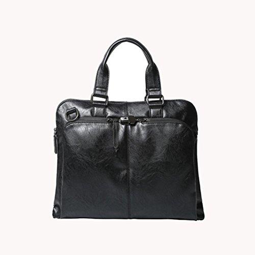 Moda Maletín PLYY los Calidad Alto de Mensajero Viajar Hombro Bolso Colección Hombres Negocio Bolso Cartera Black Cuero Rq0R1