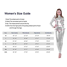 Kepblom Shiny Metallic Unitard Turtleneck Long Sleeve Footless Zentai Suit Catsuit Dancewear