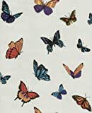 Julien Macdonald Graham And Brown Luxury Vinyl Butterfly Garden Glitter Wallpaper 10M Roll Pearl Ivory Cream 31-175