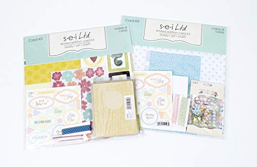 (Card Making Kit Pack - Two Kits with Complete Instructions to Make 16 Hand Made Baby Greeting Cards )