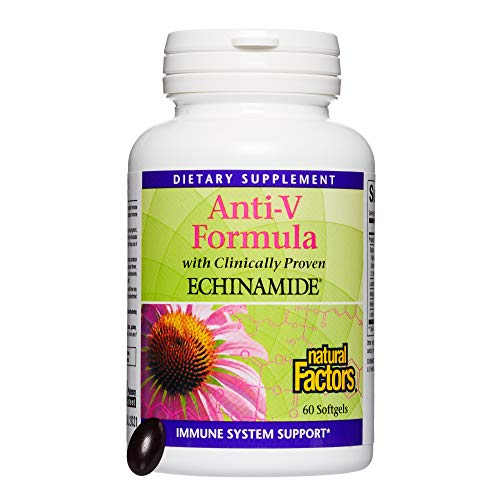 Natural Factors, Anti-V Formula, Supports Immune System Health with Echinamide, Reishi Mushroom and Astragalus, 60 softgels (60 servings) (Best Antiviral Supplements For Herpes)