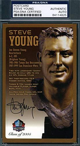 STEVE YOUNG PSA DNA Coa Autograph HOF Bronze Bust Postcard Hand Signed