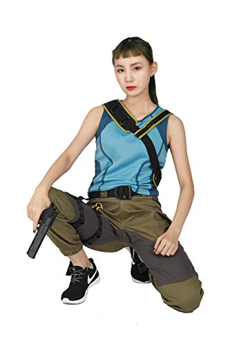 xcoser Halloween Cosplay Shadow of The Tomb Raider Movie Cosplay Lara Croft Lake Blue & Army Green Costume Size XL -