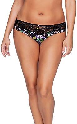 Ava P5373 PARFAIT Womens Bikinis Panties Underwear M Black Floral