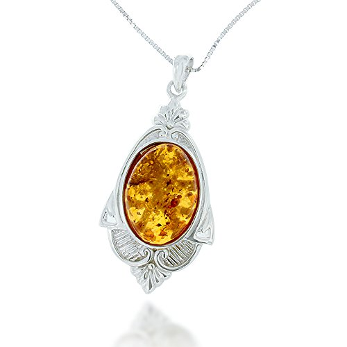 Chuvora Rhodium Plated 925 Sterling Silver Amber Gemstone Oval Decorative Pendant Necklace, 18 inches