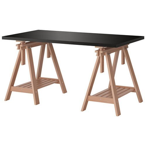 Ikea Linnmon Black-brown Desk Table 59x30' with 2 Birch Brown Wood Trestle Shelf Legs Height and Angle Adjustable, Drawing Table