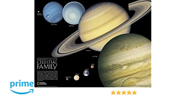 Amazon.com: National Geographic: The Solar System: 2 sided Wall Map ...
