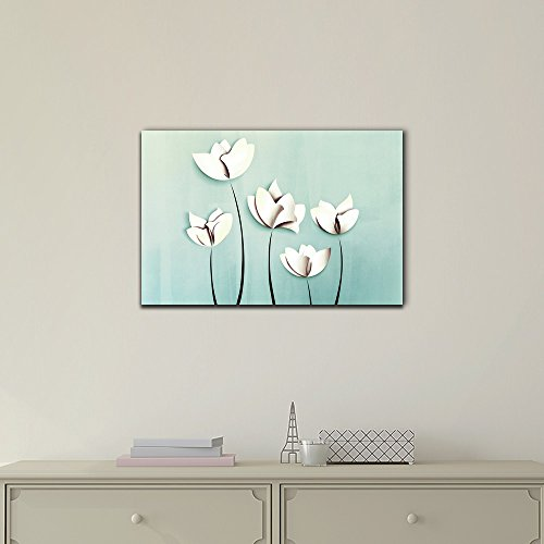 Abstract White Flower on Light Blue Background