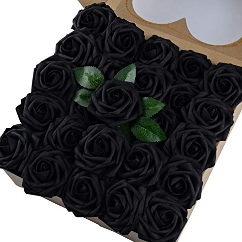 Umiss Wedding Bouquet 50pcs Artificial Flowers White Real Touch Artificial Roses for Bouquets Centerpieces Wedding Party Baby Shower DIY Decorations (Black)