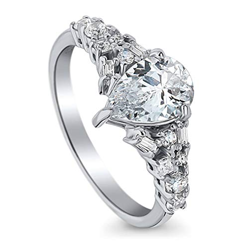 BERRICLE Rhodium Plated Sterling Silver Pear Cut Cubic Zirconia CZ Solitaire Promise Engagement Ring 1.61 CTW Size 6 (Round Brilliant With Pear Shaped Side Stones)