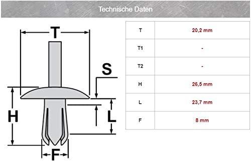 5 clips de fijaci/ón para parachoques remaches separadores para A3 8L0807300