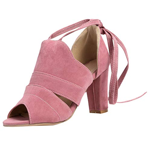 Women Summer Fashion Casual Peep Toe Heel Sandals Fish Mouth High Chunky Heel Lace up Pumps Boho Roman Shoes by Lowprofile Pink