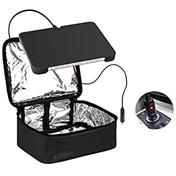 Food Warmer Personal Portable Mini Oven Electric Lunch Warmer For 12V Car,Truckers,Outdoors Travel, Camping,Black