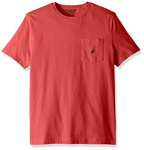 Nautica Men's Solid Crew Neck Short Sleeve Pocket T-Shirt, Melon Berry, XX-Large