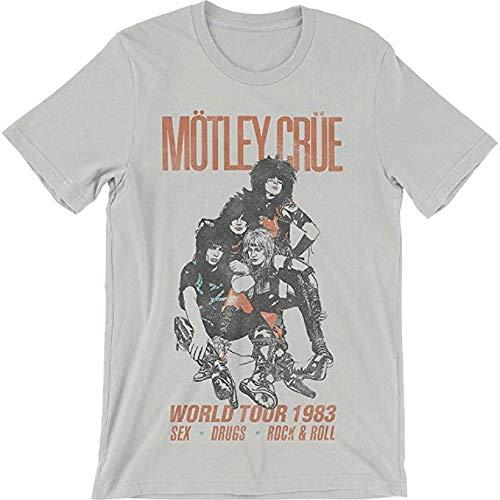 Motley Crue Men's Soft Slim Fit Vintage World Tour 1983 T-Shirt Gray (Large)