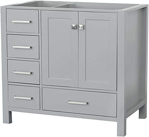 ARIEL 36 inch Grey Bathroom Vanity Base Cabinet with Right Offset Sink Configuration 2 Soft Closing Doors and 5 Full Extension Dovetail Drawers Satin Nickel Hardware 36 x 21.5 x 33.5