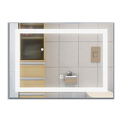 Tangkula LED Bathroom Mirror, Wall-Mounted Makeup Vanity Mirror with Led Light, Illuminated - Lightning Mirrors Bathroom