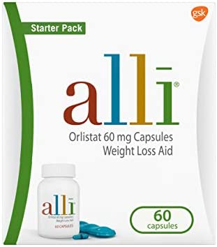alli Diet Weight Loss Supplement Pills, Orlistat 60mg Capsules Starter Pack, Non prescription weight reduction support, 60 rely