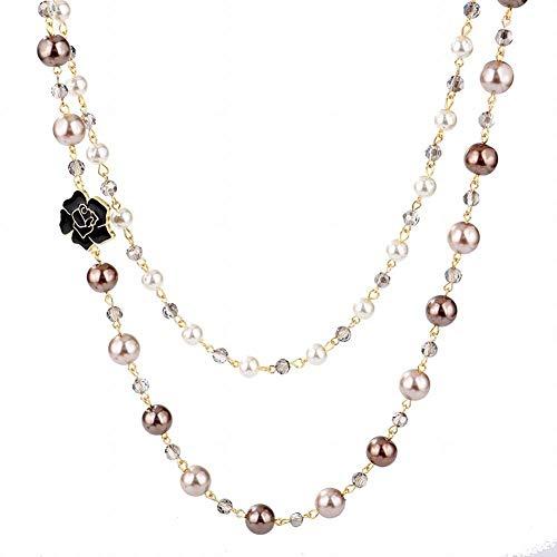 JIAJU Vintage Fashion Long Necklace 1920s Accesories for Women Fashion Jewelry Hand Made Imitation Pearls Necklace (Brown) (Brown Pearl Imitation)
