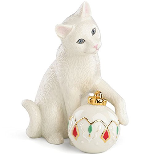 (Lenox Kitty's Holiday Ornament Figurine Cat Kitten Ball Toy Christmas )