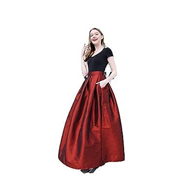 Women's High Waisted A Line Street Skirt Skater Pleated Full Midi Shiny Skirt Prom Long Length Skirts with Pockets