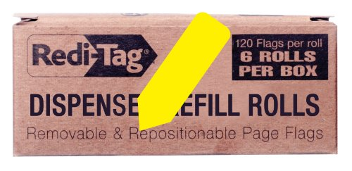 Redi-Tag Solid Arrow Dispenser Flags, 6 Roll Refill, 120 Flags per Roll, 1-7/8 x 9/16 Inches, Yellow (91061)
