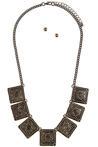 [KARMAS CANVAS ETCHED PATTERN SQUARE NECKLACE SET (Antique Gold)] (Lobster Costume Pattern)