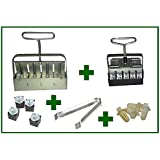 "Ladbrooke 5-Pc. ""Essentials"" Soil Block Making Set with New Handles - Mini 4, Micro 20, Cubic Inserts, 1"" Seed Dibbles, Grow Tweezers"