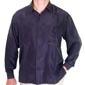 Surprise men 39 s 100 silk shirts black at amazon men s for Mens silk shirts amazon