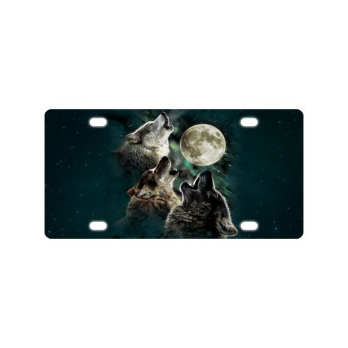 Howling Wolf Plate - Car Tag with howling wolf Image Metal License Plate of Car - 6 X 12 inch