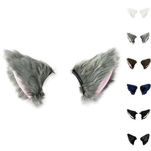 Cat Fox Long Fur Ears Hair Clip Cosplay Costume Kit Fancy Dress Halloween Party