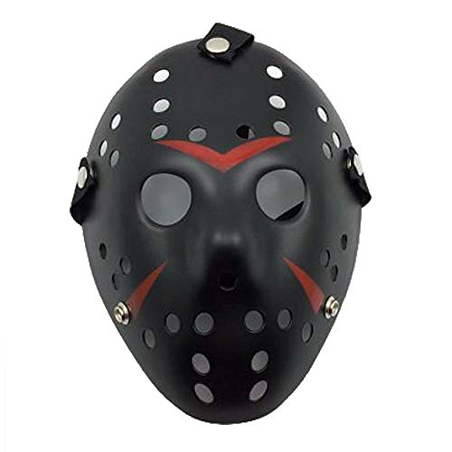 Hockey Mask | Face Mask | Jason Face Mask | Jason Mask | Halloween Mask | Scary Mask Black -
