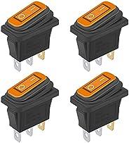 weideer 4Pcs Waterproof Boat Rocker Switch Yellow 12V LED Snap-in AC 250V 6A 125V 10A ON/Off 3Pin 2Position SP
