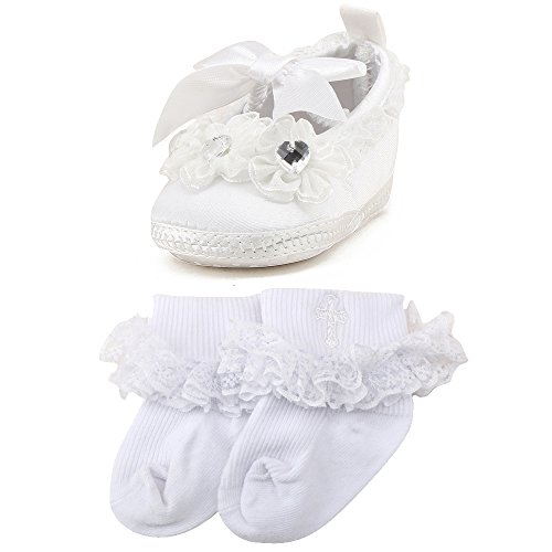 OOSAKU Baby Girls Christening Baptism Shoes Wedding Party Slipper (0-3 Months, White A)