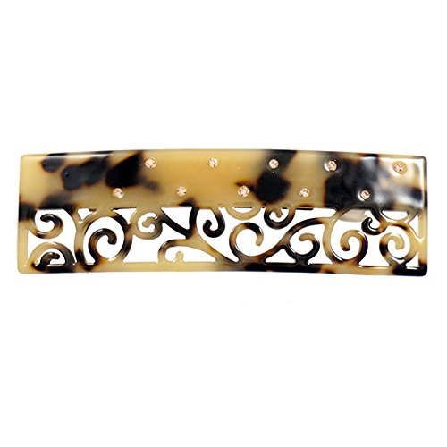 Price comparison product image Crystalmood Cellulose Acetate Rectangle Filigree Hair Barrette w/ Rhinestones Tiger