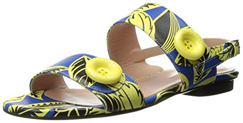 Boutique Moschino Women's Tropical Flat Sandal Dress, Blue, 36 EU/6 M US