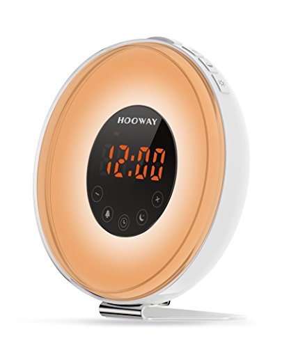 Hooway Wake Up Light Alarm Clock with Sunrise Simulation,Plus 7 Colors LED Night Light Mood Light Bedside Lamp,FM Radio &Snooze Function