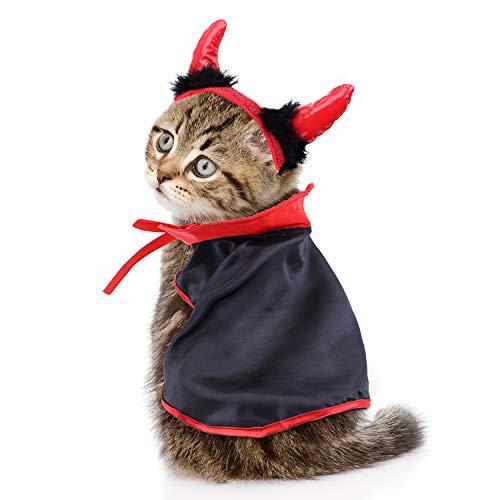 Jetec Cat Cape Pet Cloak and Adjustable Horn Headdress for Halloween Pet Costume