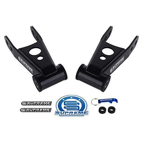 "Supreme Suspensions - Rear Lowering Kit for 1999-2019 Chevrolet Silverado 1500 [6-Lug] 2"" Rear High-Strength Steel Drop Shackles 2WD 4WD"